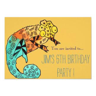 Chameleon reptile illustration boy birthday party card