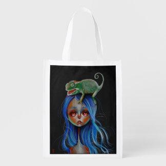 Chameleon Surrealism Big Eyed Girl Reusable Bag