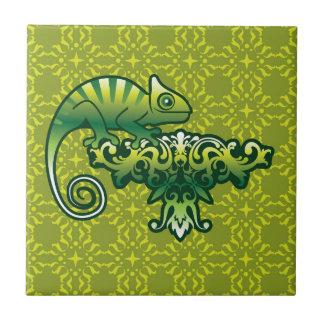 Chameleon Vector art on floral design Ceramic Tile