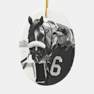 Chamois Double-Sided Oval Ceramic Christmas Ornament