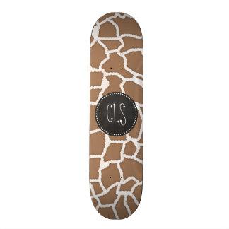 Chamoisee Giraffe Animal Print; Chalkboard look Skateboard Deck
