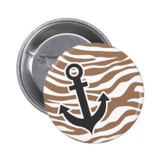 Chamoisee Zebra Animal Print Anchor Pinback Buttons