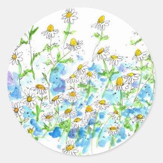 Chamomile Daisy Garden Stickers Herb Watercolor