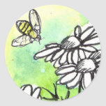 Chamomile Flower Honey Bee Watercolor Lime Green Classic Round Sticker