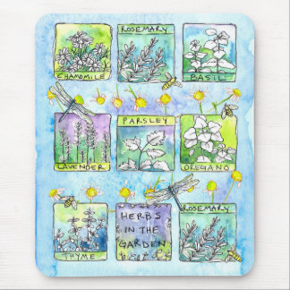 Chamomile Garden Herbs Dragonfly Bees Watercolor Mouse Pad
