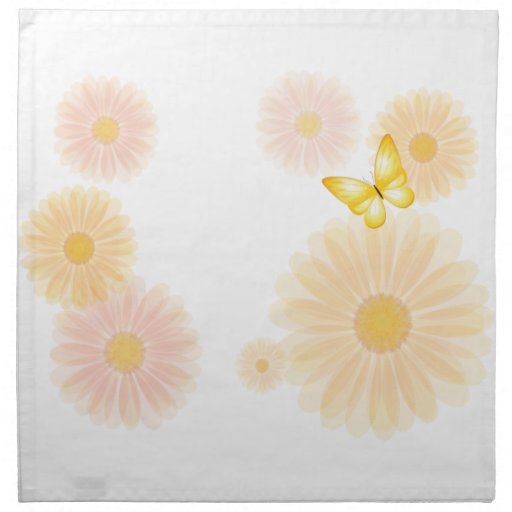 Chamomiles and Butterflies Cloth Napkins