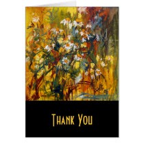 flowers, cards, thank you cards, customizable, yellow, black, orange, plants, healing plants, botanical, ginette, fine art, chamomille, universal, friend, contemporary, modern, simple, uinique, artsy, artful, artistic, with original art, Card with custom graphic design