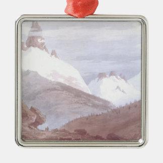 Chamonix and Martigny Metal Ornament