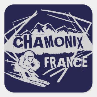 Chamonix France navy blue ski logo art stickers