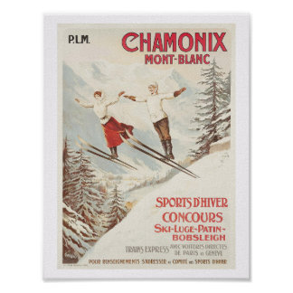 Chamonix France skiing Poster