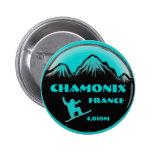 Chamonix France teal snowboard art button