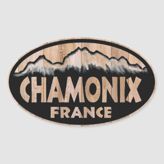 Chamonix France wooden sign oval stickers