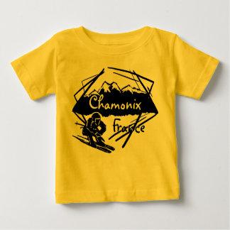 Chamonix France yellow baby ski logo tee