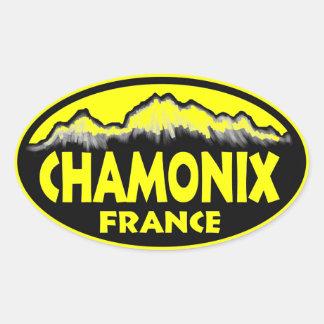 Chamonix France yellow oval stickers