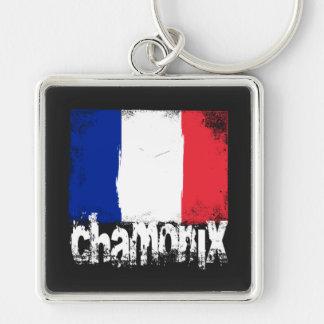 Chamonix Grunge Flag Keychain