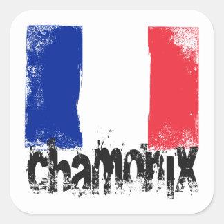 Chamonix Grunge Flag Square Sticker