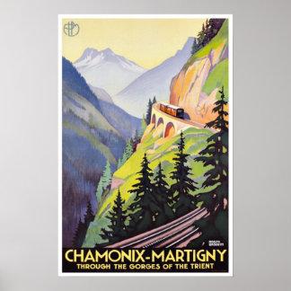 Chamonix-Martigny Gorges of Trient Vintage Travel Poster