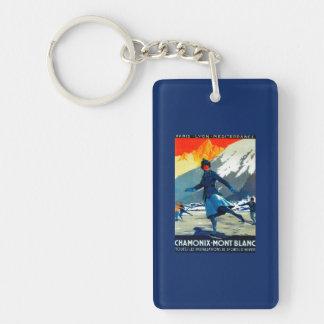 Chamonix-Mont Blanc Vintage PosterEurope Keychain