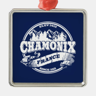 Chamonix Old Circle Blue Metal Ornament