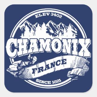 Chamonix Old Circle Blue Square Sticker