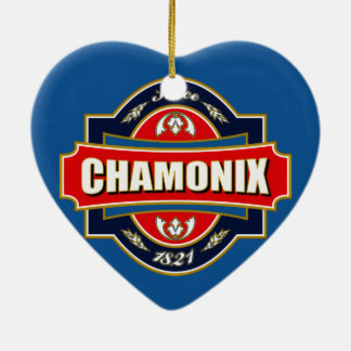Chamonix Old Label Double-Sided Heart Ceramic Christmas Ornament