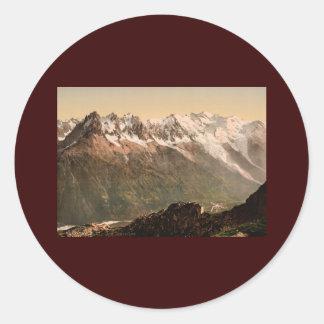 Chamonix Valley from the Aiguille du Floria Savoy Classic Round Sticker