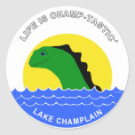 Champ goes everywhere classic round sticker