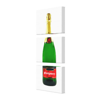 Champage Bottle Wrapped Canvas Template Stretched Canvas Print