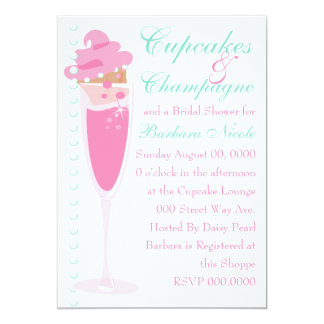 Champage, Cupcakes & Pearls 5x7 Paper Invitation Card