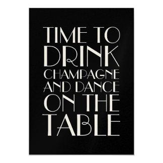 Champagne 1920's Birthday Invitation