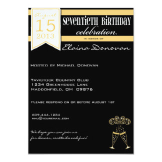 Champagne 70th Birthday in Gold and White Card
