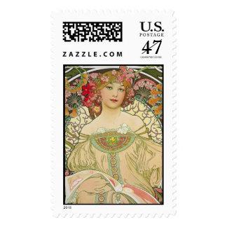Champagne, Alphonse Mucha - Postage Stamp