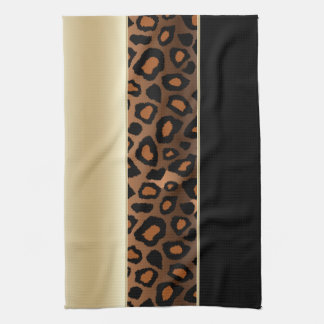 Champagne and Black Leopard Animal Print Kitchen Towel