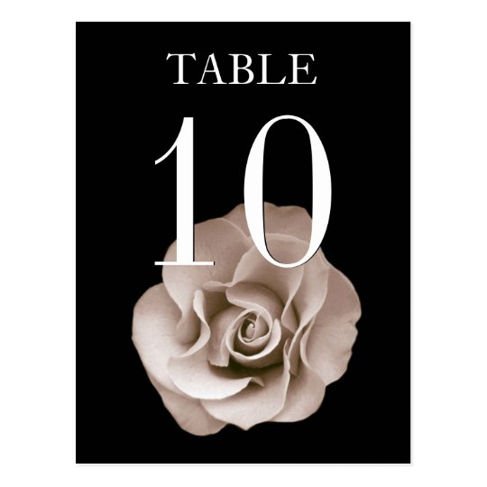 Champagne and Black Rose Banquet Table Number Card