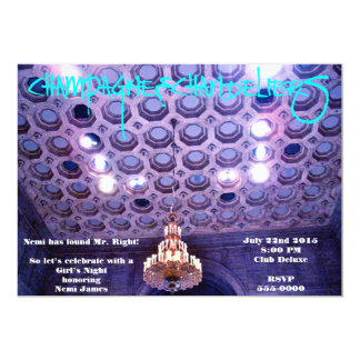 Champagne and Chandeliers Bachelorette Party Card