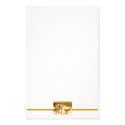 Champagne and Gifts Party Stationery in White