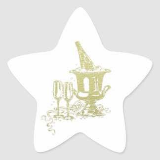 Champagne and Glasses Art Star Sticker