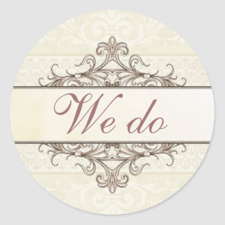 Champagne and Gold Filigree We Do Sticker