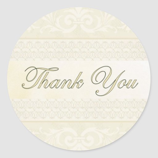 Champagne and Gold Thank You Sticker