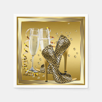 Champagne and High Heel Shoes Napkin