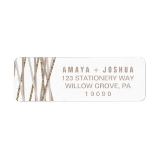 Champagne and Ivory Streamers Wedding Label