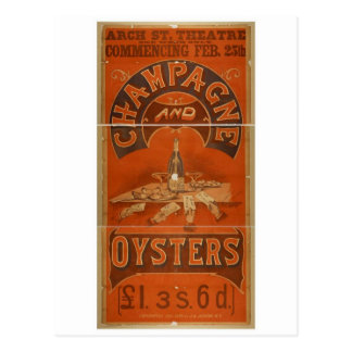 Champagne and Oysters Vintage Theater Postcard