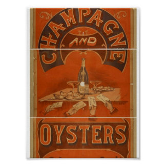 Champagne and Oysters Vintage Theater Poster