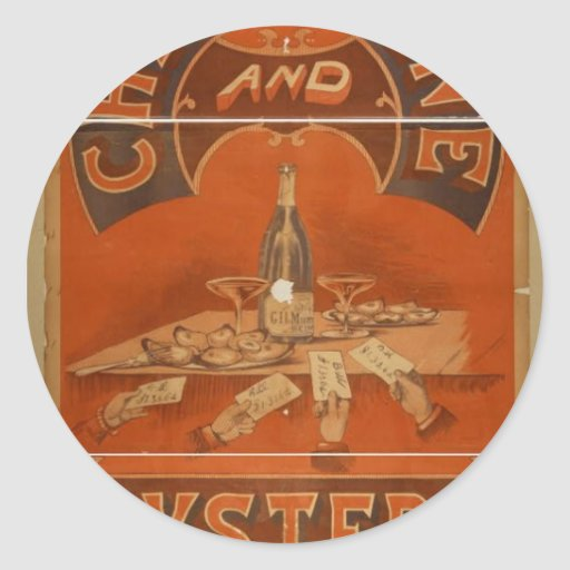 Champagne and Oysters Vintage Theater Classic Round Sticker
