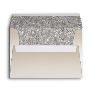 Champagne and Silver Sequins Envelope
