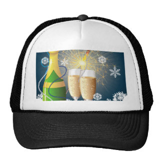 Champagne and sparkler trucker hat