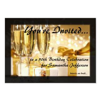 "Champagne and Sparkles Golden 50th Invitations 5"" X 7"" Invitation Card"