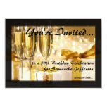 Champagne and Sparkles Golden 50th Invitations