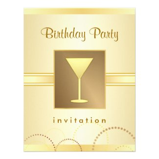 Champagne Birthday Cocktail Party Invitations