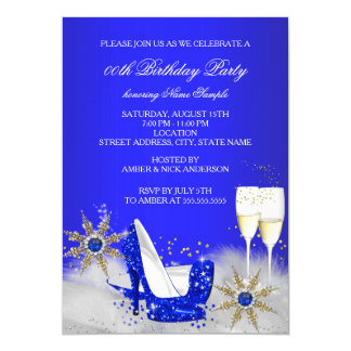 Champagne Birthday Party Royal Blue High Heels Card